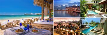 Sandals Negril; Barefoot By the Sea Restaurant; Beach Cabanas; Millionaire Suite; Swim Up River Suites; Night time entertainment