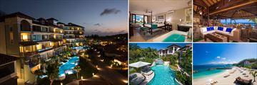 Sandals Grenada; Italia Village at night; South Seas Waterfalll River Pool Suite, Neptunes Restaurant, Lagoon pool access SuitesBeach Scape