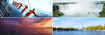 Clockwise from top left: The CN Tower, Niagara Falls, view of Toronto and Lake Ontario