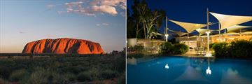 Uluru at sunset (left), and poolside dining at Sails in the Desert