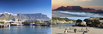 V&A Waterfront Marina (left), Table Mountain (top right), Boulders Beach (bottom right)