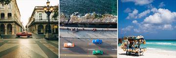 Paseo de Marti Boulevard Havana at dusk, Vintage Cars Malecon Havana, Varadero Beach Kiosk