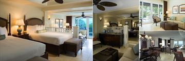 Vero Beach Hotel & Spa, A Kimpton Hotel, (clockwise from left): Studio Two Queens, Studio One King Bed, Two Bedroom Studio Living Area and Oceanfront Two or Three Bedroom Grand Suite Living Area