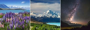 Sightings of Mount Cook, New Zealand