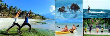 Voyager Beach Resort, (clockwise from left): Yoga, Scuba Diving, Kite Surfing, Volleyball and Kayaking