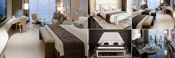 W Abu Dhabi, Yas Island, (clockwise from left): Deluxe Room, Yas Grand Suite, Marina Deluxe Room, Deluxe Suite Living Room and Presidential Suite