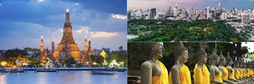Wat Arun Temple, Buddha Statues at Wat Yai Chai Mongkok and Lumpini Park with city skyline background, Bangkok
