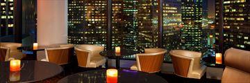Night City View from Bonavista Lounge at Westin Bonaventure
