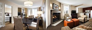 Westin Resort & Spa Tremblant, One Bedroom Suite and Two Bedroom Suite Living Area