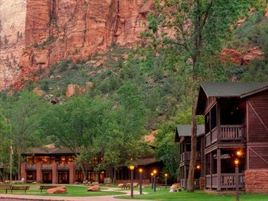 Zion National Park Lodge at dusk