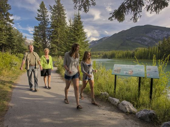 Family walking in Banff National Park