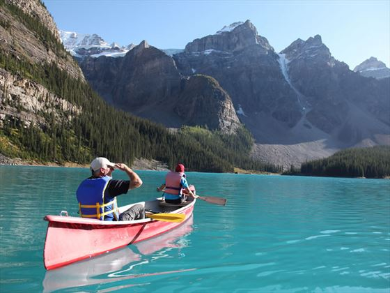 Canoeing in Moraine Lake, Banff National Park