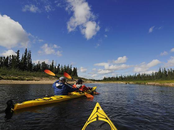 Kayaking on River in the summer, Churchill