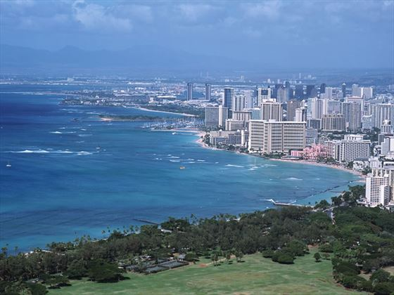 View from Diamond Head of Waikiki Beach, Hawaii