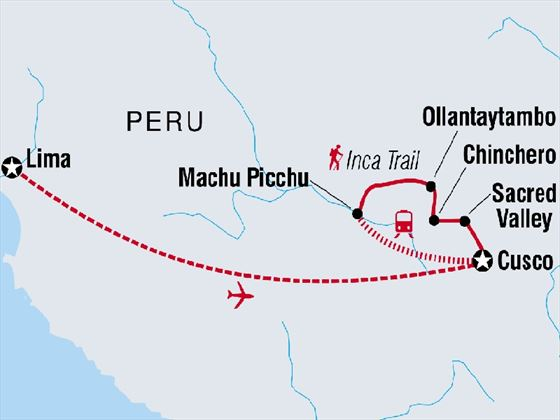 Inca Trail with Teenagers map
