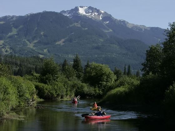 Kayaking on the River of Golden Dreams between Alta Lake and Green Lake near Whistler