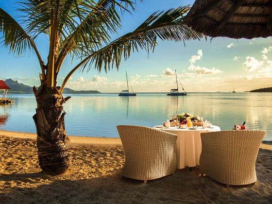 Romantic dinner on the beach at Preskil island Resort