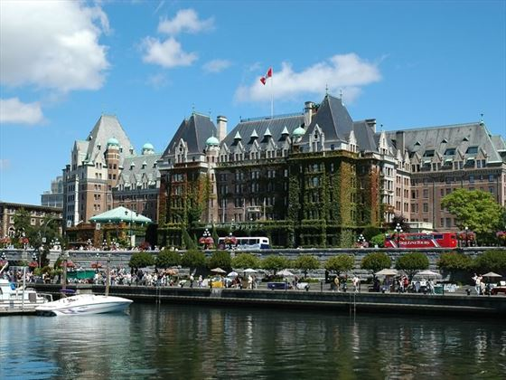 The marina and seawall in front of the Fairmont Empress, Inner Harbour, Victoria