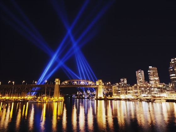 Light show on False Creek, Vancouver