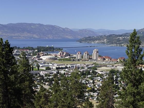 View of city buildings and Okanagan Lake from Mount Knox, Kelowna