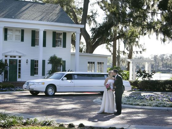 Couple by limo at Cypress Grove