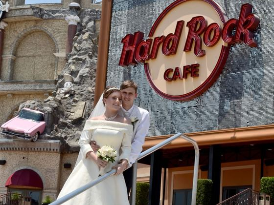Bride and groom outside the Hard Rock Cafe