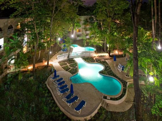 Aerial nighttime view of the pool at Sandals Barbados