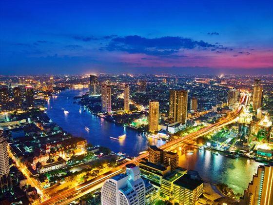 Aerial view of Bangkok skyline at night