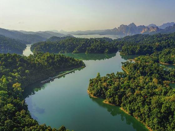 Aerial view of Cheow Larn Lake, Khao Sok
