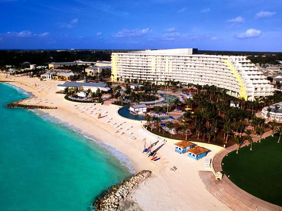 Aerial view of Grand Lucayan and the beach