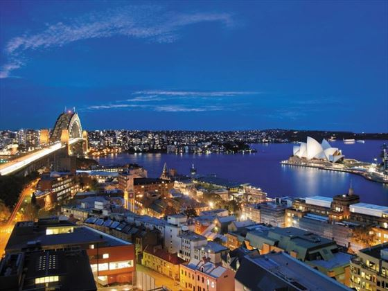 Aerial view of Shangri-La Hotel Sydney at night