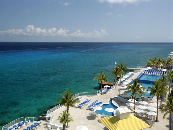 Aerial view of the pool area at Cozumel Palace