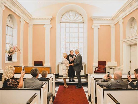 Wedding ceremony at All Souls Chapel