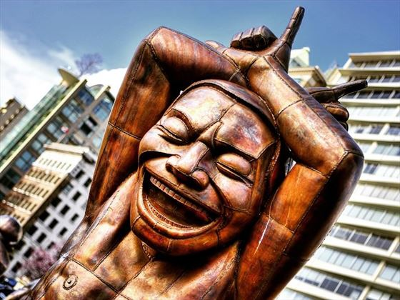 Amazing Laughter statue in Vancouver's English Bay