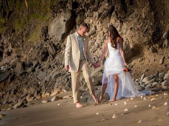 Bride & Groom on Anse Mamin beach