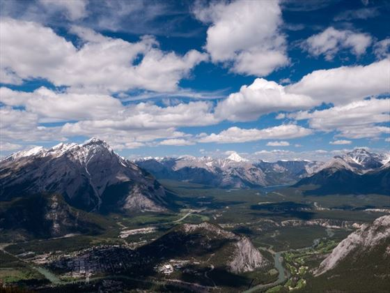 Ariel views from the top of Sulphur Mountain