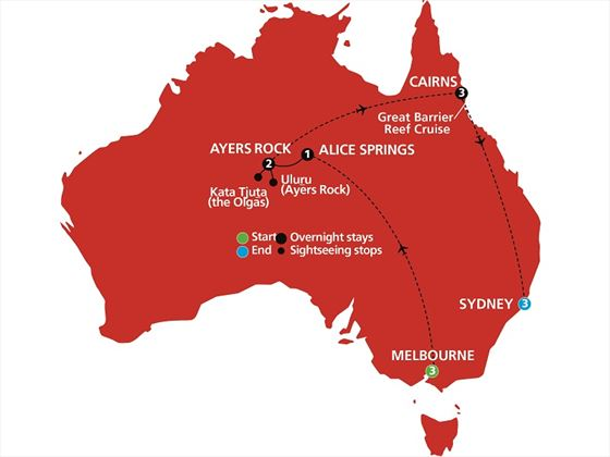 Australian Highlights map