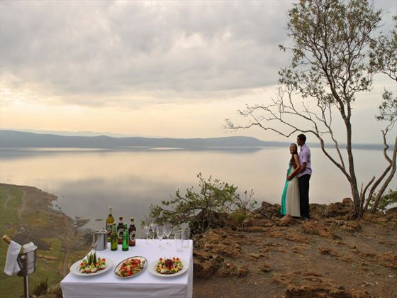 Baboon cliff sundowners at Sarova Lion Hill Lodge