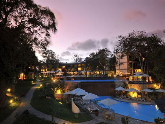 Baobab Beach Resort grounds at dusk