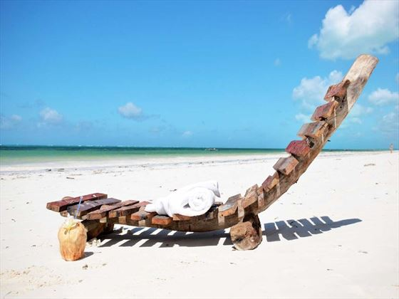 Beach loungers at Indigo Beach Zanzibar