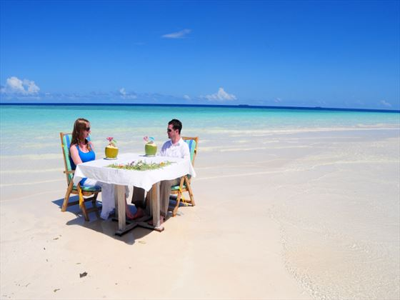 Beachfront dining at Fun Island