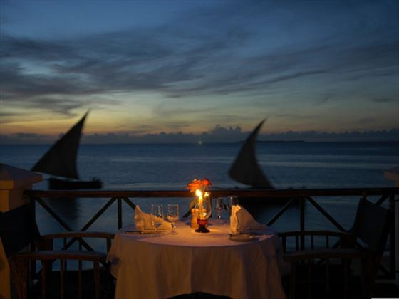 Beachside dining at Zanzibar Serena