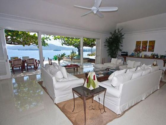 The stylish living area with panoramic views of Bolt House Jamaica