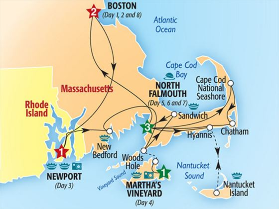 Boston Cape Cod and the Islands Tour Map