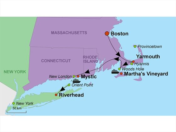 Boston to New York by the Beaches map
