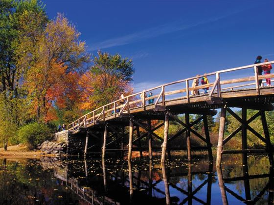Boston's Concord bridge in autumn