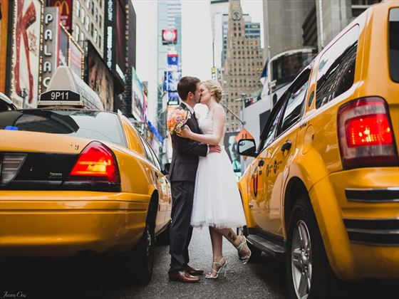 The happy couples on Times Square