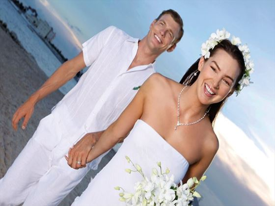 Bride and groom at Secrets Silversands Riviera Cancun