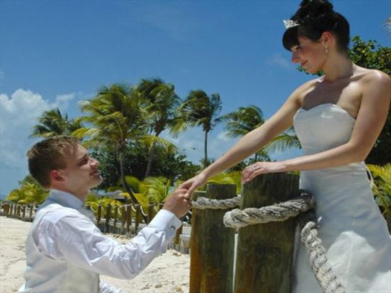Bride and groom at Palm Island