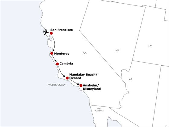 Itinerary now replaces Oxnard with Santa Barbara